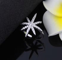 טבעת כוכב מתכווננת- כסף אמיתי