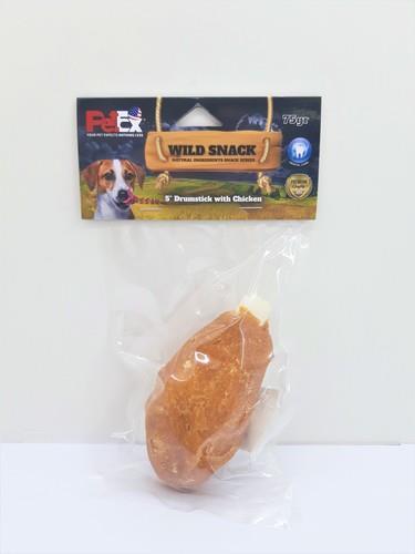 עצם שוק עוף לכלב בגודל 5 אינץ בציפוי בשר עוף מיובש