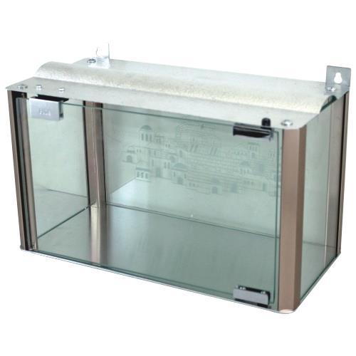 """בית חנוכייה 40 ס""""מ רחב מהודר מאלומיניום וזכוכית - פרופילים בגוון נחושת 50*25*40 ס""""מ"""