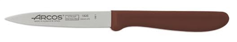 """סכין ירקות חלקה 10 ס""""מ יד' פלסטיק חומה ARCOS"""