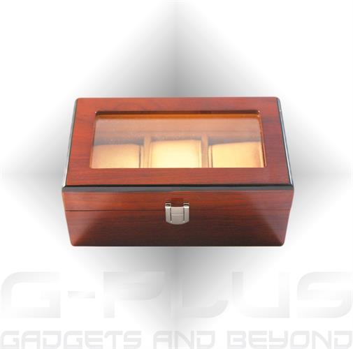 קופסא מהודרת מעץ בגימור מבריק 3 מקומות לשעונים