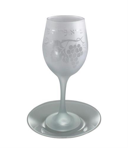 """גביע קידוש זכוכית שקוף 21 ס""""מ"""