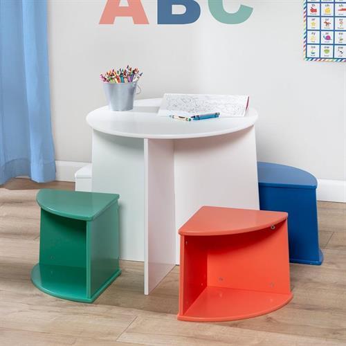 """סט שולחן ו 4 כסאות מעץ מעוצב חזק במיוחד המאפשר גם איחסון TBL-08724 מבית honey can do ארה""""ב"""
