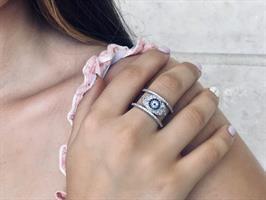 טבעת עין זרקונים | כסף אמיתי