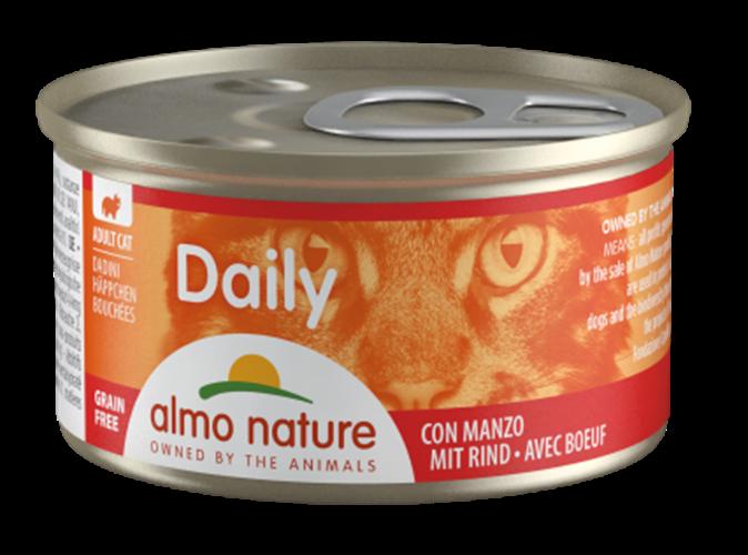 אלמו נייצ'ר דיילי מעדן לחתול על בסיס נתחי בקר 85 גרם - ALMO NATURE DAILY