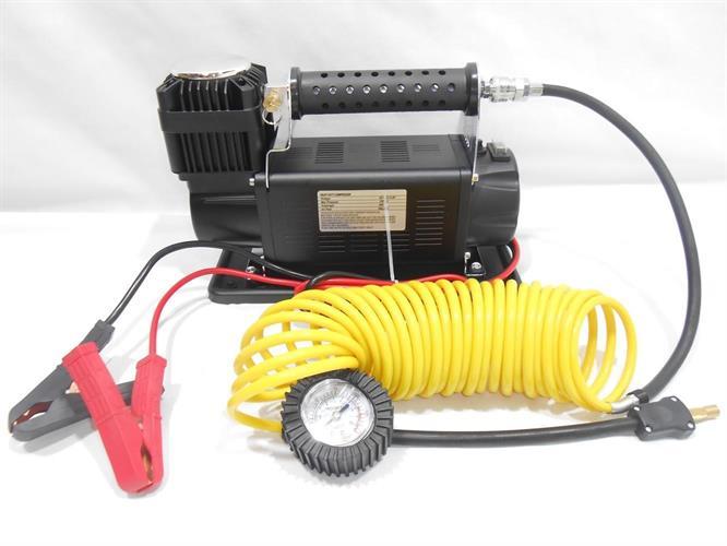קומפרסור עם  שסתום פורק ונתיך למניעת התחממות יתר צינור גומי שחור משולב ספיראלה צהובה לרכב