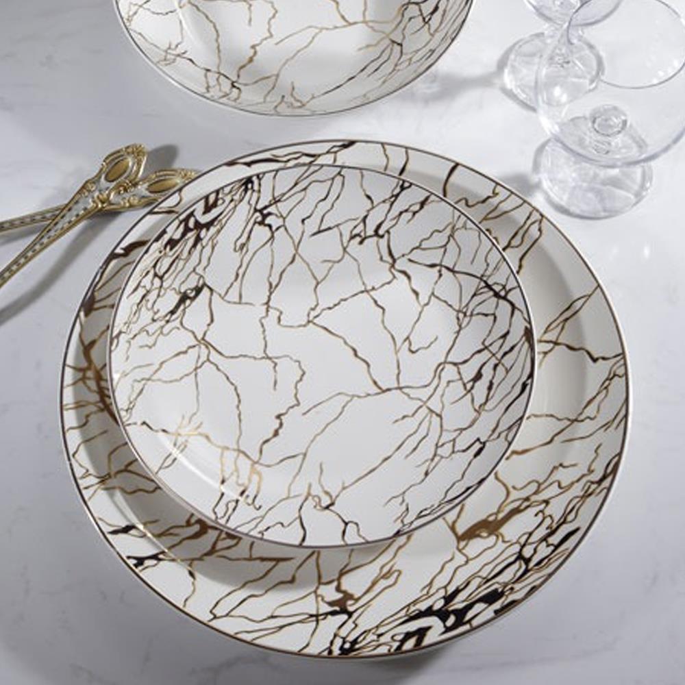סט צלחות פורצלן מעוצבות, 18 חלקים שיש זהב  - גוליאן