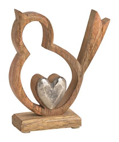 ציפור עץ עם לב אלומיניום