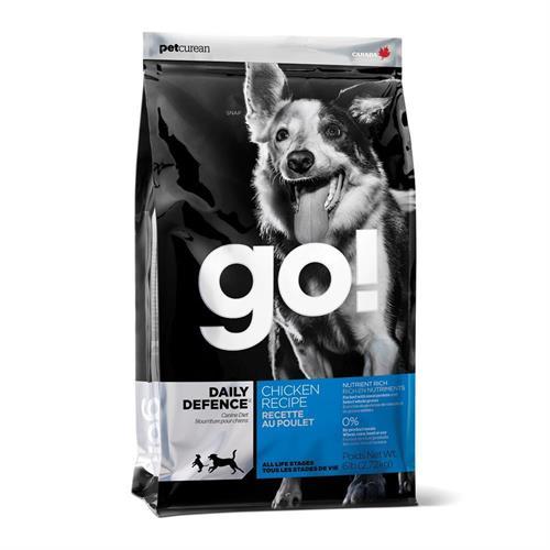 """מזון יבש לכלבים מכל הגילאים  בטעם עוף 11.4 ק""""ג GO!"""