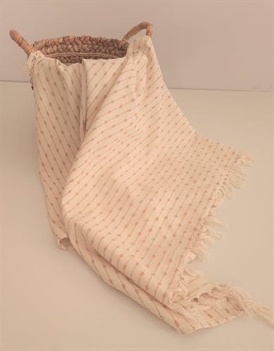כיסוי למיטה איכותי במראה דקורטיבי דגם - דובאי שמנת בז'