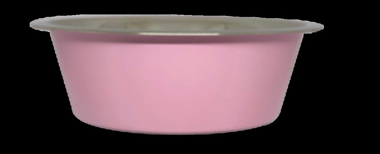קערת מזון נירוסטה ורוד עם גומי בתחתית למניעת החלקה 0.90 ליטר