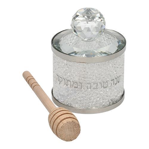 """כלי מהודר לדבש מקריסטל אבנים לבן 8 ס""""מ"""