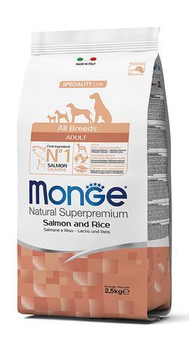 MonGe אדולט סלמון ואורז 2.5 קג all breeds
