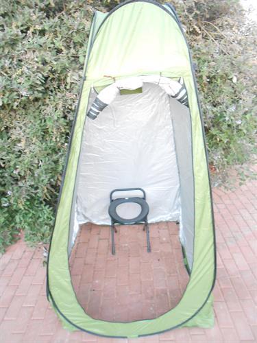 סט נוחות לשטח  אוהל צבע ירוק עם  אסלה שחורה POP UP