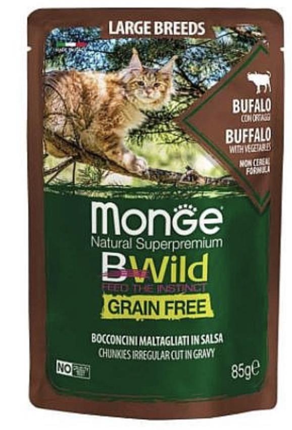 MONGE BWILD Grain Free מזון רטוב 85 גר' לחתול בטעם באפלו וירקות
