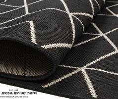 שטיח למטבח גאומטרי שחור לבן