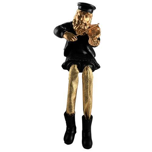 """חסיד יושב מפוליריזן - שחור עם רגלי בד זהב מנגן בכינור 23 ס""""מ"""