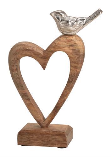 ציפור אלומיניום על לב עץ