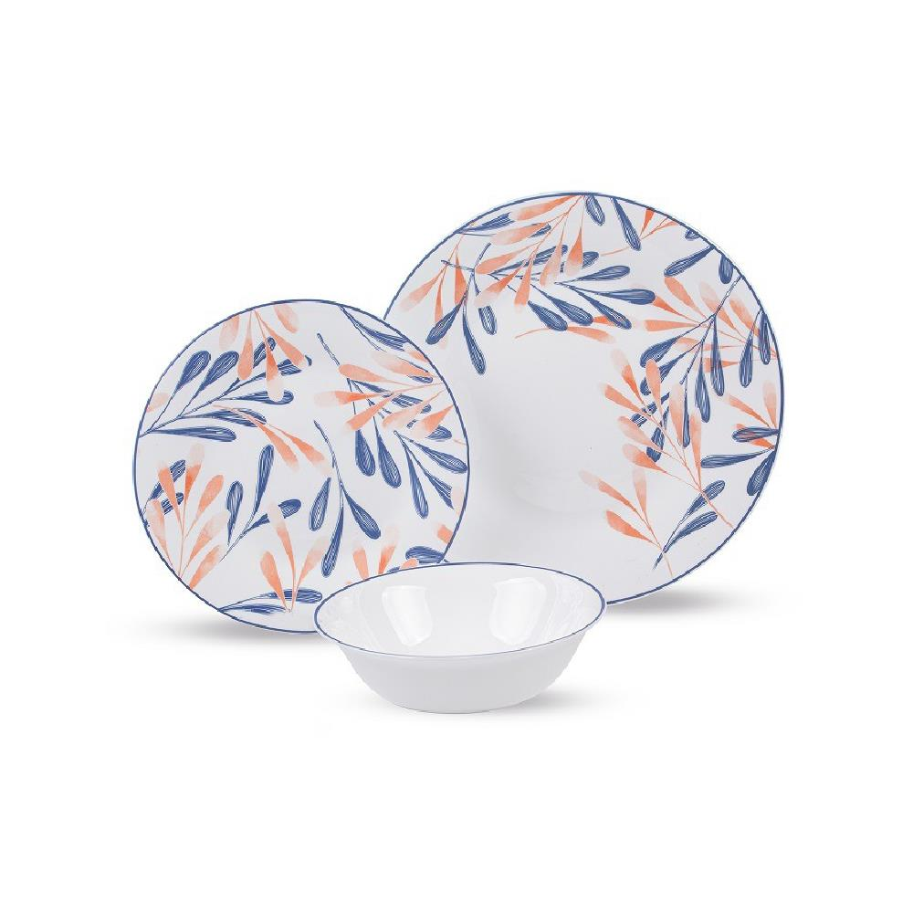 סט צלחות זכוכית מעוצבות CORAL COAST מבית פוד אפיל (Food Appeak), 18 חלקים