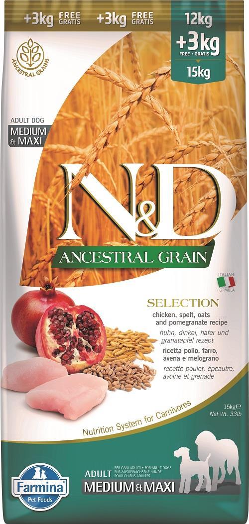 """N&D ANCESTRAL GRAIN – מזון לכלב בוגר – עוף, רימון ודגנים קדמונים (כוסמין ושיבולת שועל 15 ק""""ג"""