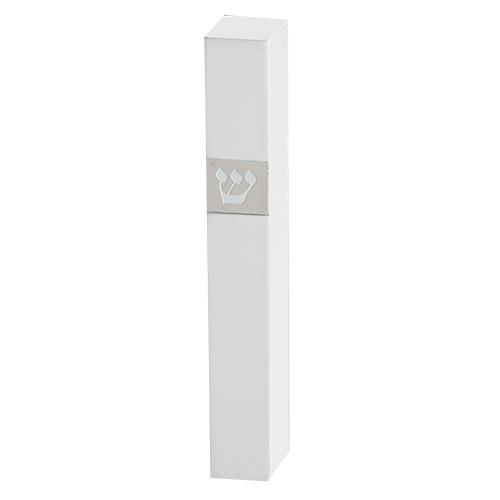 """מזוזה מעץ לבן עם פלקטה ש 12 ס""""מ"""
