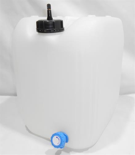 מיכל עם ברז ג'ריקן 25 ליטר צבע לבן / שקוף מתאים למי שתיה