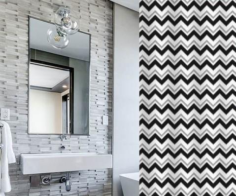וילון אמבטיה מודפס דגם זיגזיג - Zigzag