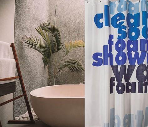 וילון אמבטיה מודפס דגם סבון - Soap