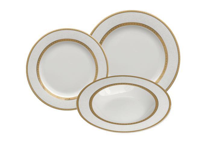 סט צלחות פורצלן מעוצבות, 18 חלקים פורצלן זהב  - גוליאן