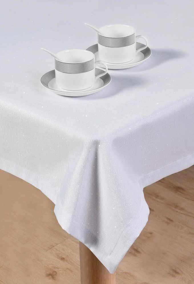 מפת שולחן יוקרתית מנצנצת אודרי - לבן כסף