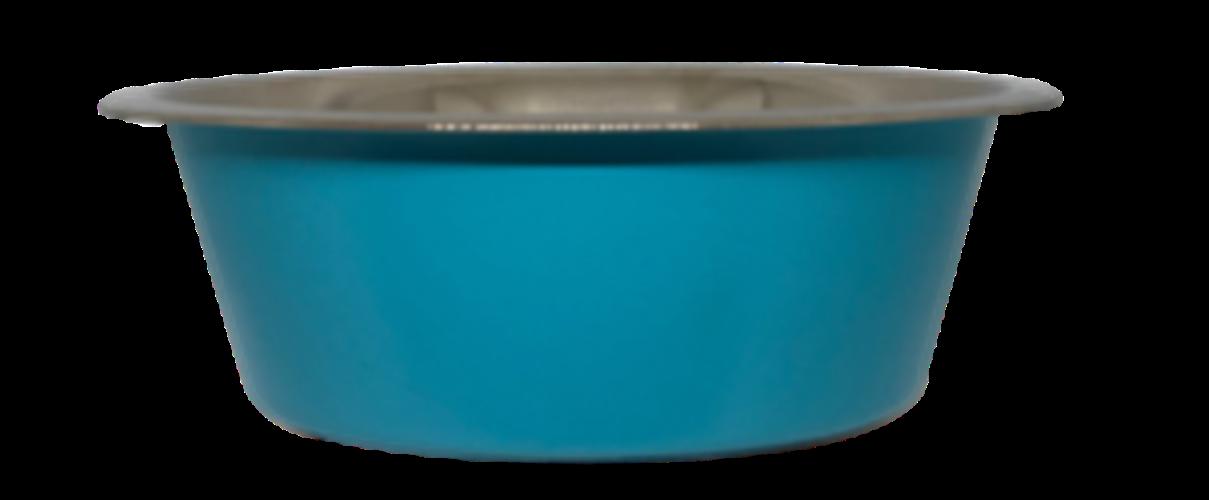 קערת מזון העשויה נירוסטה בצבע תכלת עם גומיות בתחתית למניעת החלקה 1.80 ליטר