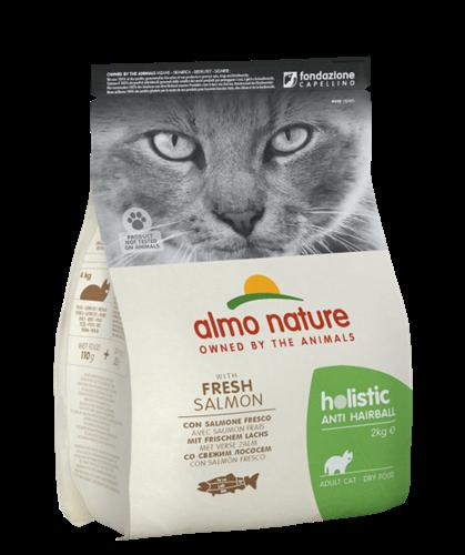 """אלמו נייצ'ר הוליסטיק לחתולים בוגרים המסייע במניעת כדורי שיער – עם דג סלמון טרי2 ק""""ג"""