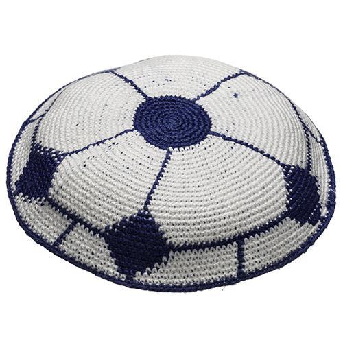 """כיפה ד.מ.צ 14 ס""""מ כדורגל לבן כחול"""