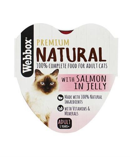 וובוקס, מזון רטוב לחתולים בוגרים, דג סלמון טבעי ברוטב, 85 גרם – Webbox