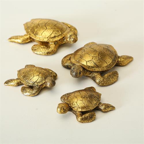 סט 2 צבים מוזהבים