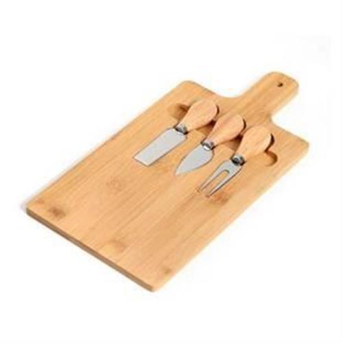 סט קרש חיתוך ושלושה סכינים לחיתוך גבינות
