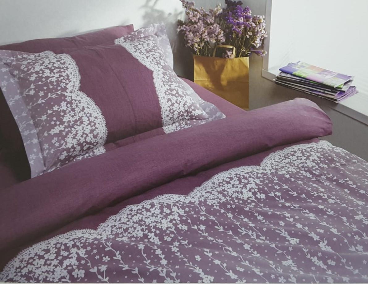 מצעים למיטה זוגית (יהודית) 100% כותנה - פריד דגם לייס סגול
