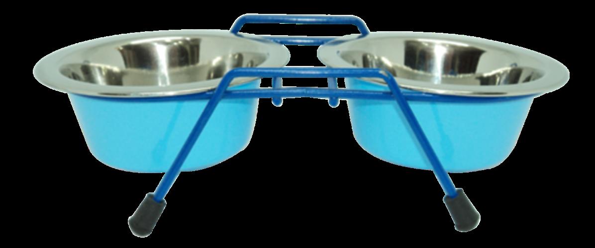 סט קערות מנירוסטה בנפ 0.90 ליטר (Blue - L Blue) כלב בינוני גדול