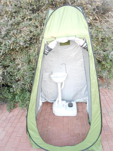 כיור נייד לשמירת היגינה ולנטילת ידיים  רחיצת ידיים לבית לשטח לאירועים לחג הסוכות כולל אוהל מתקפל