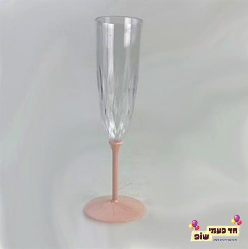כוסות שמפניה רגל ורוד