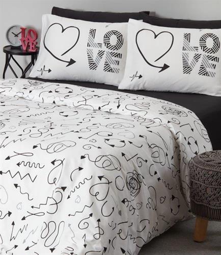 סט מצעים מיטה וחצי 100% כותנה - אהבה בשחקים