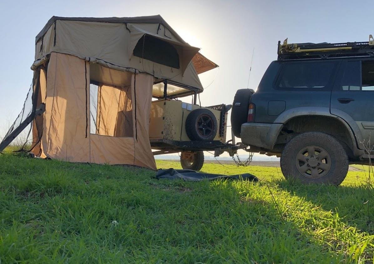 אוהל על גג הרכב משפחתי כולל חדר תחתון על הקרקע צמוד לאוהל דגם K008