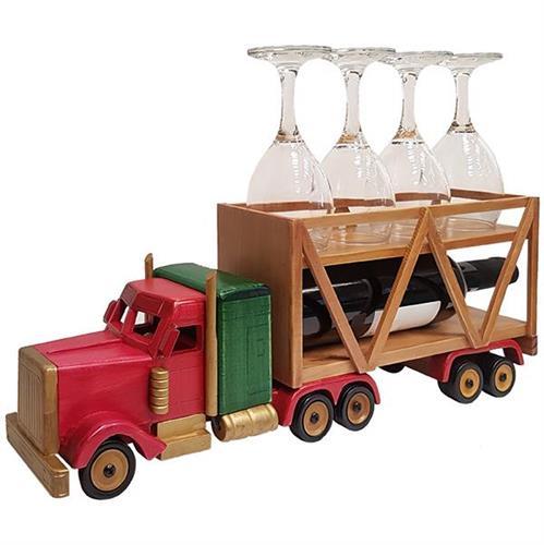 משאית עתיקה וינטג' מעץ בגוון מהגוני מעמד לבקבוק יין ו-4 כוסות