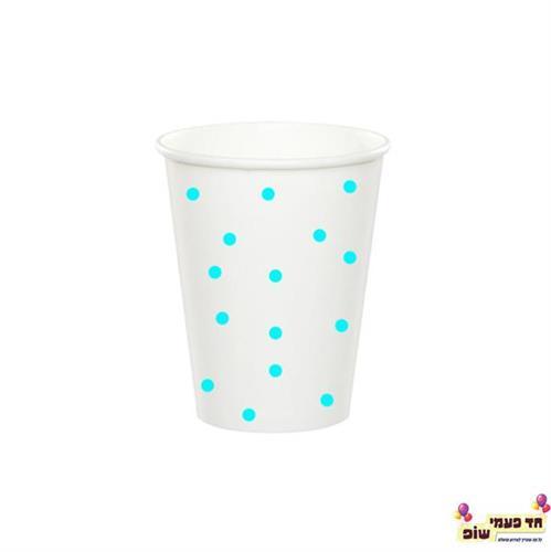 כוסות חמות לבן נקודות