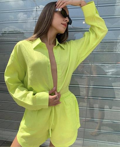 חליפת פשתן צהוב זוהר