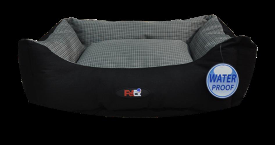 מיטה לכלב אפור/שחור בד דוחה מים גודל 90X70X24 פטקס