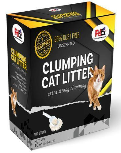 """פטקס חול מתגבש לחתול נטול בישום באריזת קרטון מהודרת וחסכונית של 10 ק""""ג"""