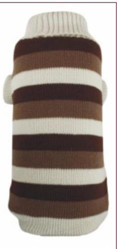 סוודר פסים חום וקרם לכלב קטן 5-10 ק״ג 40 סמ