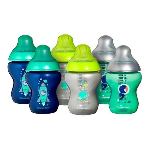 """סט 6 בקבוקי טומי טיפי מהודרים 260 מ""""ל כחול/ירוק במהדורה מיוחדת"""