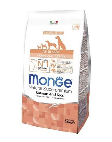 "MONGE  -פפי סלמון ואורז 2.5 ק""ג all breeds"